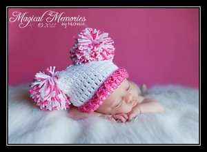 SUPER CUTE BABY GIRL SACK HAT 0,3,6,9 months PHOTO PROP
