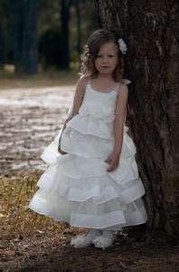 Pretty Flower Girl Dress Children Floral Party Gown/Cocktail Tiers