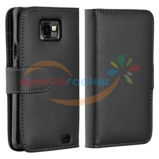 Black Wallet Leather Flip Case Cover for Samsung Galaxy S II 2 i9100