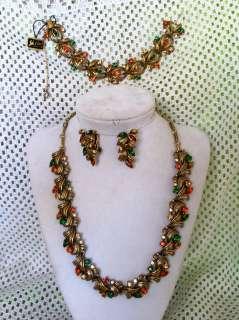 FAB Vintage Coro Antique Gold Rhinestone Necklace Bracelet Earring