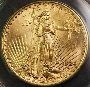 1924 $20 Gaudens Gold Double Eagle, ANACS MS 62