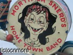 VINTAGE MARX TIN LITHO MORTIMER SNERDS HOME TOWN BAND DRUMMER WIND UP