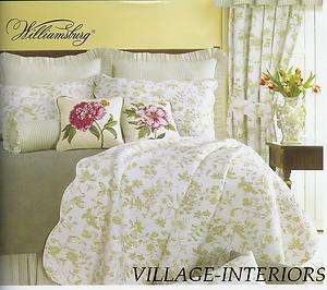 BRIGHTON FRENCH COUNTRY GREEN & IVORY WHITE TOILE CAL/ KING QUILT