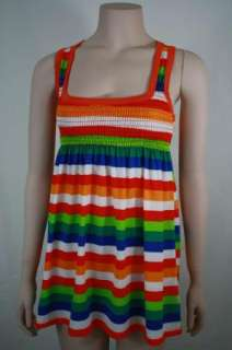 Mexican Color Block Racer Back Striped Tank Top Tunic S