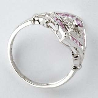 Pink Sapphire and Diamond Ring in 18k White Gold