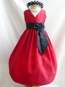 APPLE RED BLACK FLOWER GIRL PAGEANT PARTY DRESS 1   14