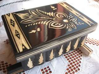 HANDCRAFTED WOODEN Magic Jewelry Puzzle Money Lock Box Black *NEW