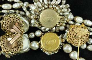 Vintage Lot 5 Miriam Haskell Gold Tone Pearl Rhinestone Necklace