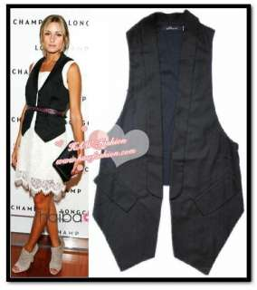 New Woman Casual Weekend Black Long Waistcoat Suit Vest