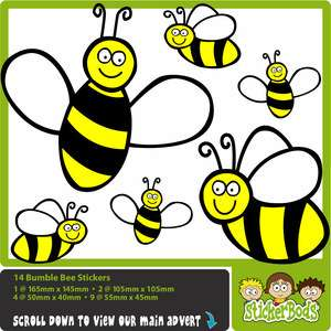 16x BUMBLE BEE car nursery wall stickers decals
