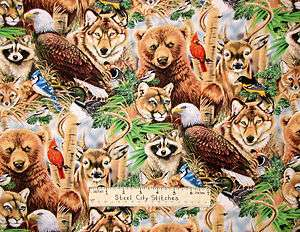 Studio Worlds Wildlife Bear Wolf Eagle Deer Fox Cotton Fabric BTY