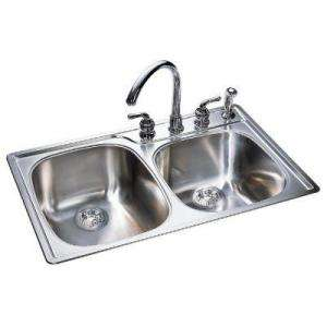 Combination Bowl 18 Gauge Stainless Steel Sink With Silk Finish