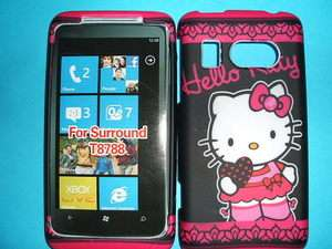HTC SURROUND BLACK HELLO KITTY CASE COVER FACEPLATE