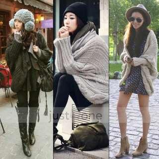 Women Lady Girl Loose Dolman Sleeve Knit Cape Cloak Mantle Cardigan