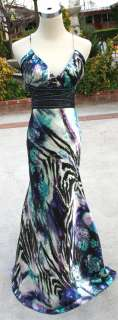 NWT BETSY & ADAM $170 White / Multi Prom Party Gown 10