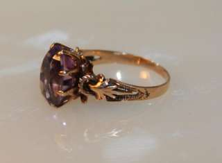12k Victorian Rose Gold Amethyst Ring Oval Stone Gorgeous