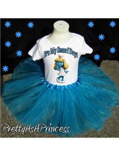 BIRTHDAY SMURFETTE SMURF TUTU OUTFIT BLUE DRESS AGES 1 5