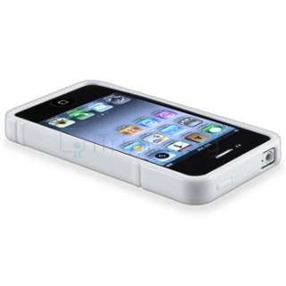 White S Shape Rubber TPU Soft Case Cover+DC Car Charger For iPhone 4