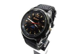 Mens Black rubber Military Army Pilot Fabric Quartz avigator wrist