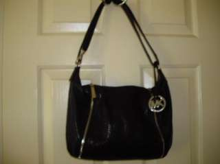 Michael Kors Black Leather Zipper Hardware Hobo/Convertible