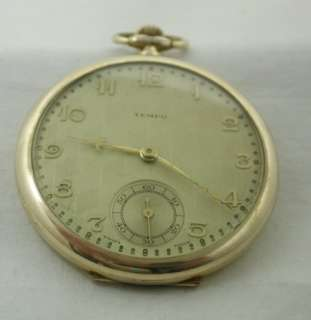 Vintage Lovely Art Deco Dial Rolled Gold Tempo Open Faced Pocket Watch