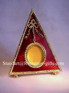 Russian Romanov Red Triangle enameled Photo Frame