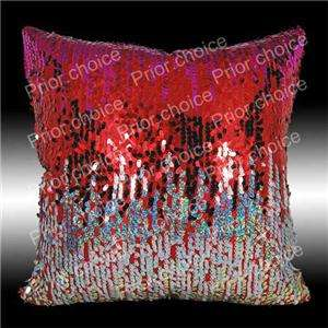 2X SHINY HOT PINK RED GOLD SILVER SEQUINS CUSHION COVERS THROW PILLOW