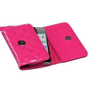 4S Quilted Leather Luxury Wallet Case Pouch Flip Cover Glossy Hot Pink