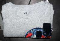 NEW AX ARMANI EXCHANGE MUSCLE SLIM FIT GRAY Classic Logo T SHIRTS