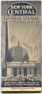 NEW YORK CENTRAL railroad brochure/timetable worlds fair 1939 minty