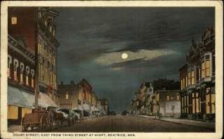 Beatrice NE Street Scene Moonlight c1910 Postcard