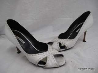 Manolo Blahnik White Cross Strap Peep Toe Pumps 38.5