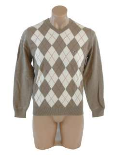 NEW NWT TOMMY HILFIGER MENS ARGYLE V NECK COTTON SWEATER