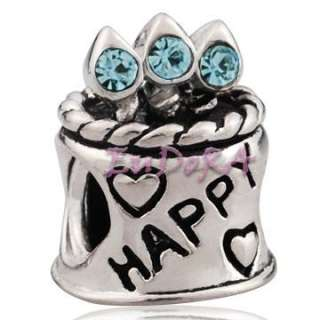 Happy birthday Birthstone for birthday gift European bead fit charm