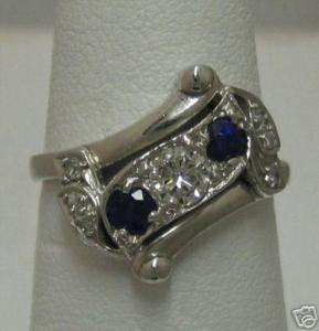 Vintage Blue Sapphire & Diamond 14K White Gold Ring
