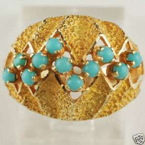 Estate Vintage 14K Solid Gold Persian Turquoise Ring