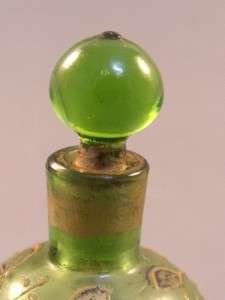 Antique c1880 Bohemian Moser Green Glass Enamelled Miniature Perfume