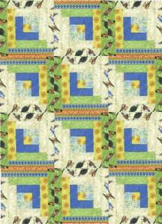 Birds of a Feather 12 Block Log Cabin PRE CUT Patchwork Quilt Kit 29 x