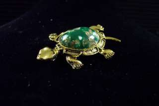 Vintage Gold Tone Green Speckled Back Turtle Brooch