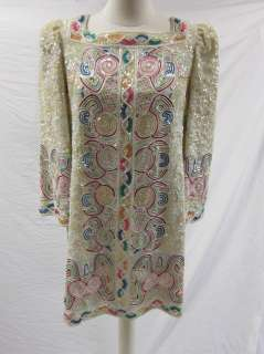 Mary McFadden Vtg Mini Sequins Beaded Tunic Dress FOXY!