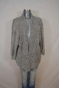 EILEEN FISHER Marbled Gray Linen Silk Open Front Cardigan Sweater 2X