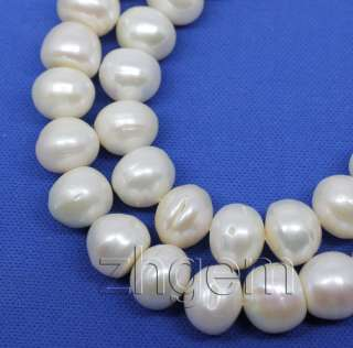 10*12mm natural white pearl roundel loose beads gem 15.5long