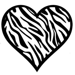 Zebra Heart Decal   Animal Print 100% Waterproof Sticker 4.25 Square