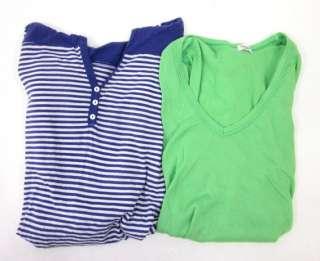 LOT 2 SPLENDID Green Purple White Striped Knit Shirt M