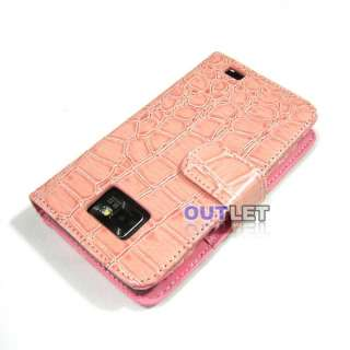 Light Pink Crocodile Wallet Leather Case 2 card slots F Samsung Galaxy