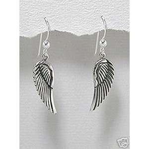 Sterling Silver Angel Wing Earrings Christian Jewelry