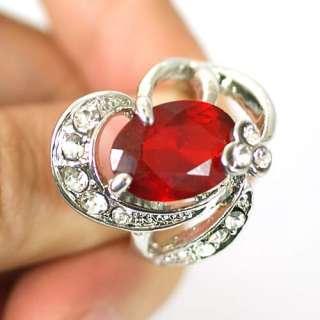 GP Oval Gemstone CZ Zircon Finger Ring Jewelry Size 5.5 6.5 8 9