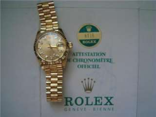ROLEX PRESIDENT w/ DIAMONDS Dial 6917 Solid 18K Y.GOLD Lds PAPERS