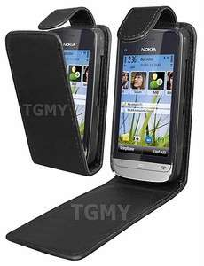 BLACK LEATHER FLIP CASE COVER POUCH FOR NOKIA C5 03