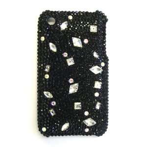 Swarovski Crystal Black & Diamond Shape Bling Apple IPhone 3G & S Case